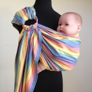 Sunrise Rainbow Wrap Conversion Ring Sling Baby Carrier Bamboo Blend