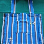 Blue Dahlia Wrap Bag Cotton