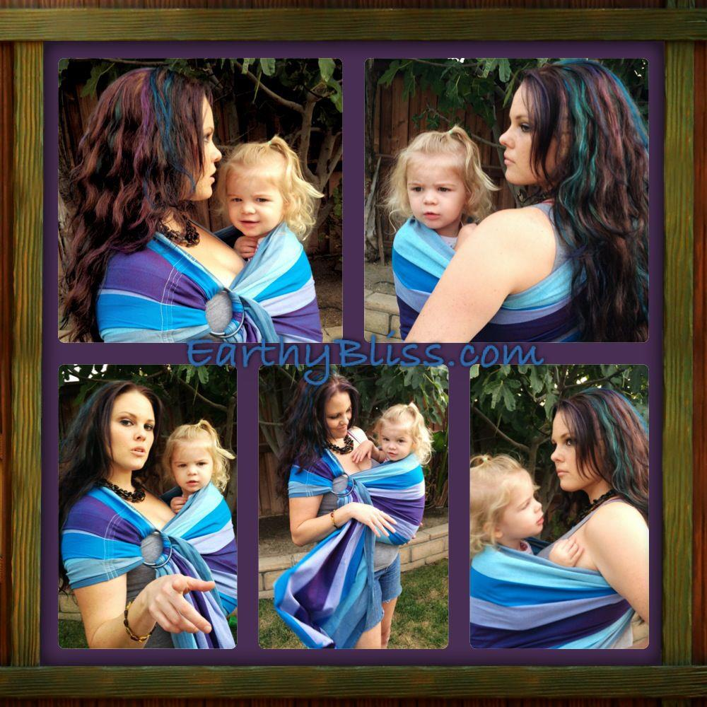 Mermaid Cove Ring Sling Baby Carrier Diamond Weave Cotton Plum Weft